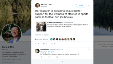 President Ono Tweets about The Action-Perception Lab's work on Concussion